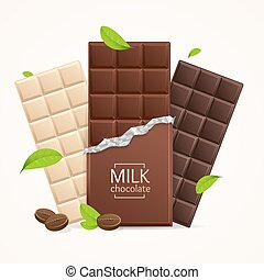Vector Chocolate Package Bar Blank - Milk, White and Dark. -...
