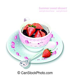 Vector chocolate strawberry mousse in a mug. Summer delicious desserts