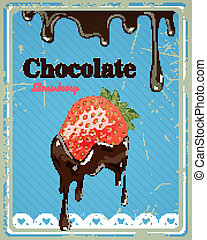 Vector Chocolate Strawberry Sign