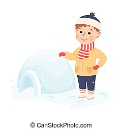 vector, choza, nieve, ilustración, niño, iglú, edificio, ...
