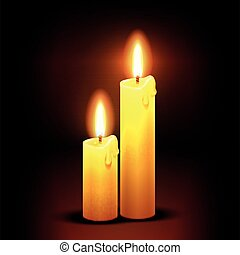 Vector christian background with burning dinner candles