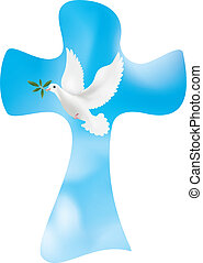Vector christian cross with dove and olive leaves on sky background. Symbol of peace