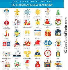 Vector Christmas and Happy New Year flat icon set. Elegant style design.
