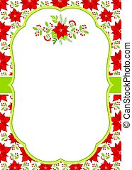 Vector Christmas and New Year Card Template with a Floral Winter Bouquet on Poinsettia Background.