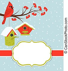 Vector Christmas and New Year Card Template with Cardinal, ...