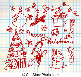 Vector Christmas and New Year doodle illustrations