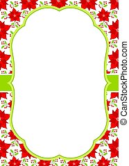Vector Christmas and New Year Greeting Card Template with a Frame on Poinsettia Background.