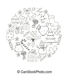 vector Christmas and new year hand drawn icons set