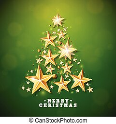 Vector Christmas and New Year illustration with Christmas Tree made of cutout paper stars on green background. Holiday design for greeting card, poster, banner.