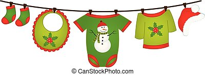Vector Christmas baby clothes hanging on the line