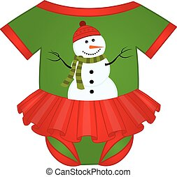 Vector Christmas Baby Girl Bodysuit Decorated with Snowman