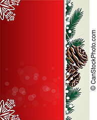 Vector Christmas background, red card with twigs, cones and...