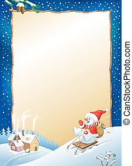 Vector Christmas background with snowman on sled with gifts. Santa snowman background.