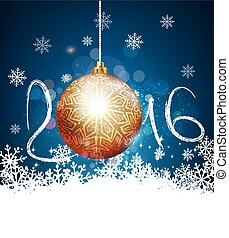 vector Christmas background with a ball to a new 2016