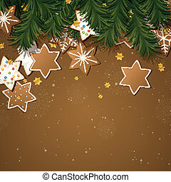 Vector Illustration of a Christmas Background with Gingerbread Cookies