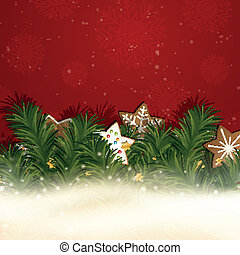 Vector Christmas Background with Gingerbread Cookies