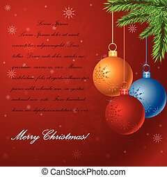 Vector Christmas background with glossy balls