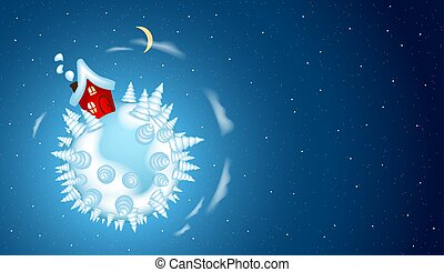 Vector Christmas background with little house on a winter planet in space.