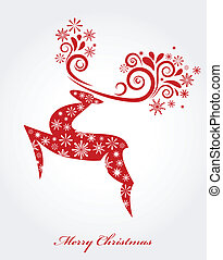 Vector Christmas background with red reindeer