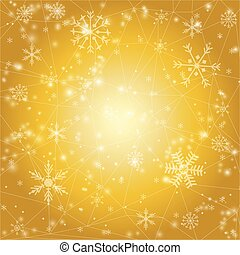 Vector Christmas background with snowflakes on golden...