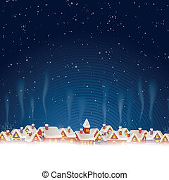 Vector Christmas Background with Winter Landscape