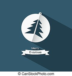 Vector Christmas Ball and Tree Made from Paper on Blue Background