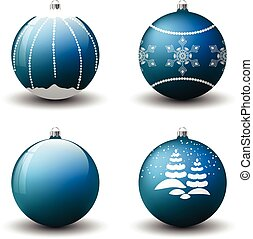 Vector Christmas balls. Set of isolated realistic decorations.