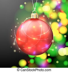 Vector Christmas Banner template with bright ball