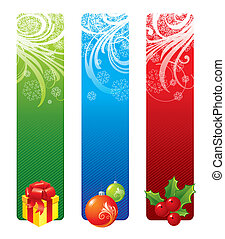 Vector Christmas banners with holidays symbols