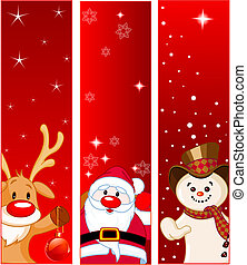 Vector Christmas Banners with snowmen, Santa and Rudolf
