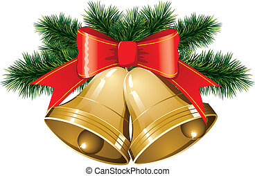 christmas bells with christmas tree - vector christmas bells...