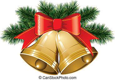 christmas bells with christmas tree - vector christmas bells...