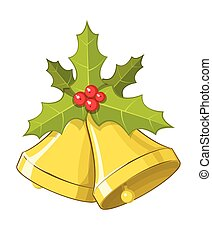 Vector Christmas bells with Holly berries
