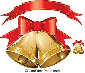 christmas bells - vector christmas bells with red stripe...