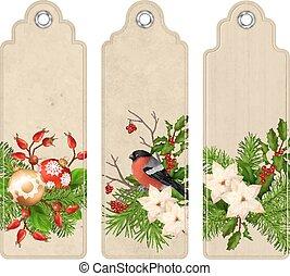 Vector Christmas Bookmark - Set of Christmas vector tags or...
