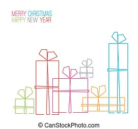 Vector christmas card - christmas presents, gift boxes - simple continuous line drawing