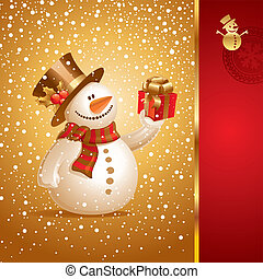 Vector Christmas card - smiling snowman with gift