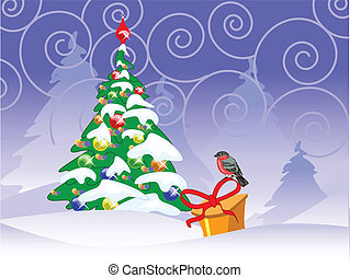 christmas card with a bullfinch, fir tree and present