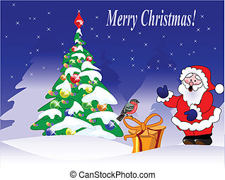 christmas card with a bullfinch, fir tree and Santa