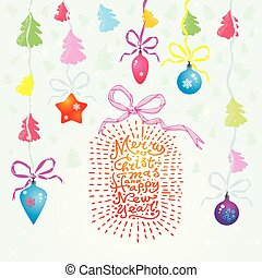 """Vector Christmas card with Christmas balls, trees, hand written text """"Merry Christmas and Happy New Year"""" and garland. Winter background with hand drawing elements"""