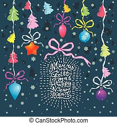 """Vector Christmas card with Christmas balls, trees, hand written text """"Merry Christmas and Happy New Year"""", snowflakes and garland. Winter background with hand drawing elements"""
