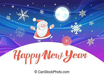 Vector Christmas card with Santa Claus on a blue sky