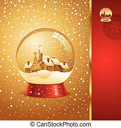 Vector Christmas card with snow globe