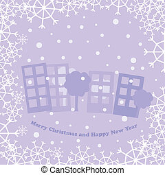christmas card with town