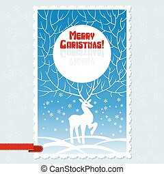 Vector Christmas card with white stylized deer