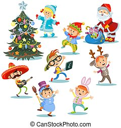 Vector Christmas carnival party, cartoon children in costumes, Santa Claus with presents for kids in fancy dresses