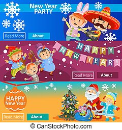 Vector Christmas carnival party, matinee invitation, 3 posters with children in costumes, Santa Claus. New year banners