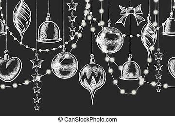 Christmas Chalkboard Ornament - Vector Christmas Chalkboard...