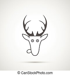 Vector christmas deer head icon