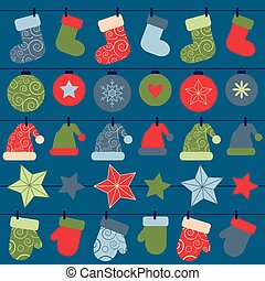 vector christmas design decorations hanging on rope